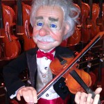 "Arthur Fiddler visits with Hershey Violins. This little guy is making his way around the fiddle shop these days. Arthur is a 30"" professional marionette with 20 strings used to operate his fiddle, blinking eyes and eyebrows. I performed with him and 5 other puppets a few years ago. Other stars will be posted shortly. Stay tuned, Elton, Liza, Phantom and Elvis are in the theatre."