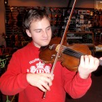 "Ben Detrick (Seven Valleys, PA) This verry talented violinist visited our shop today to try out some of our fine bows. Ben is attenting the ""Prayner Conservatory"" Vienna, Austria. His violin teacher is Barbara Gorzynska. Thank you Ben and hurry back."