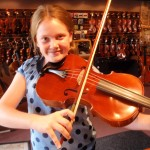 "Caitlynn Weeden (Mercersburg, PA). ""Going Big"". This 16 1/2"" viola was just the ticket for this young lady looking for a big sound. Her Hershey Viola will serve her well for many years to come."