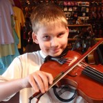 Colin Witherspoon (New Jersey). Colin and his dad Glenn stopped in to try out a few violins and bows. He chose a high-end student instrument, bow and case. This is Colins first full size violin. Enjoy making sweet music Colin.