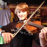 Daniel Wirth (Dillsburg, PA). Enjoying his recently purchased pre-war German violin and a nice carbon fiber bow. Daniel will be a freshman at Northern High School this fall.