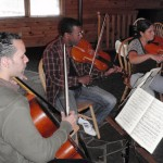 Rehearsal: Cellist David Gotay (New York), Orlando Wells, (New Jersey) and Adriana Linares rehearsing Mendelssohn's Octet in E Flat, Opus 20.