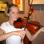 Josephine Whalon (Carlisle). Another satisfied customer (all smiles), playing her brand new Hershey violin.