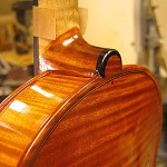 A closer view of a Strad model, ebony heel button detail.