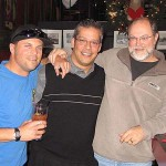 Son Aaron Hershey, Odin Rathnam, Concertmaster HSO, Scott Hershey enjoying some Christmas Cheer at the Firehouse restaurant.  Aaron is a medic/firefighter in Santa Cruz, CA.