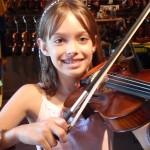 Jesse Zampelli (Mechanicsburg, PA).  Jesse's all smiles with her first 1/2 size violin and she is very excited about beginning lessons. She attends Silver Springs Elementary.