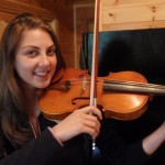 Kristine Fridjonsdottir (Reykjavik, Iceland). Stopped in to have her bow rehaired and some tonal adjustments made to her violin. She was attending the 2010 West Branch Music Festival where I was luthier in residence.