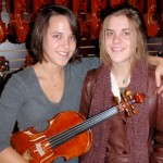 Leah and Sarah Gastler (Durham, CT). Leah is a very talented violist and wanted to try out my new Hershey 5-String and Sarah purchased an new a-model mandolin from us. Both sisters were happy campers.
