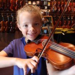 Lelia Webb (Harisburg, PA). Lelia was ready for an upsize. Mom purchased a new 1/4 sized violin for the upcoming school year @ the Harrisburg Academy. Sure looks like a hapy camper.