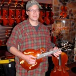 "Michael Morrison (York Springs, PA), a fine and talented guitarist and instructor stopped in to try out a few Santa Cruz guitars. Here Michael is playing one of my own hand-made ""F""-Style mandolins. Michael can be reached for lessons @ 717.432.0283."