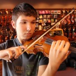 Nicholas Perry (Hummelstown, PA). A frequent visitor to our shop and a talented student of Peter Sirotin, recently stopped in for some much needed surgery inside his instrument and other services. Nicholas attends Lower Dauphin H.S.