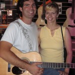 Singer/songwriter Ryan Graffius and friend Tracy Miller taking our Santa Cruz guitars for a test drive.