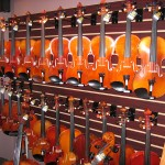 Our shop displays a fine selection of violins, violas and cellos.