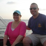 "Holly and hubby Mike  (A.K.A. ""TB"") enjoying the July 4th sail."