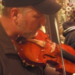 Glenn Carson (Mech. PA) a fine fiddle player and master banjo maker takes this 5-string through its paces after final set-up.